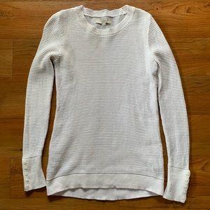 NWOT LOFT White Button Sleeve Sweater